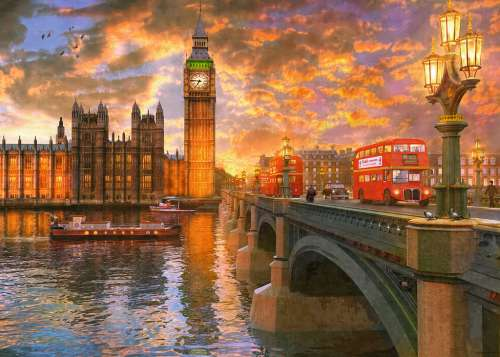 Westminster Sunset, London (RB19591-6), a 1000 piece jigsaw puzzle by Ravensburger. Click to view larger image.