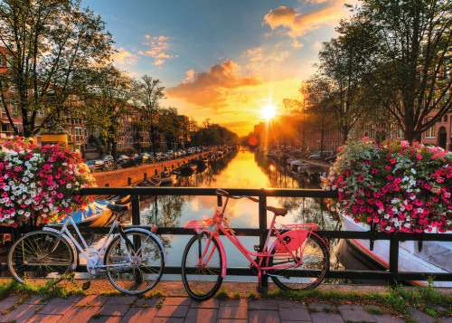Bicycles in Amsterdam (RB19606-7), a 1000 piece jigsaw puzzle by Ravensburger. Click to view larger image.