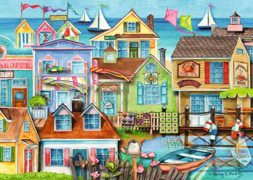 Down at the Wharf (RB19602-9), a 1000 piece jigsaw puzzle by Ravensburger. Click to view larger image.