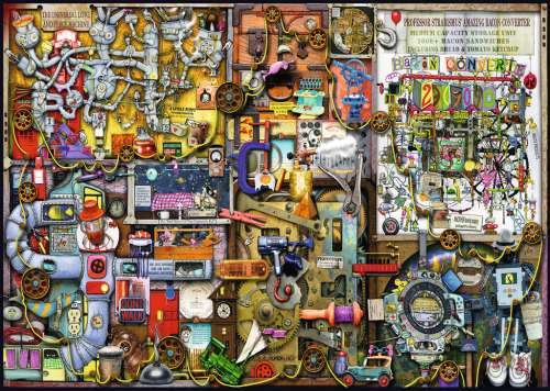 The Inventor's Cupboard (RB19597-8), a 1000 piece jigsaw puzzle by Ravensburger. Click to view larger image.