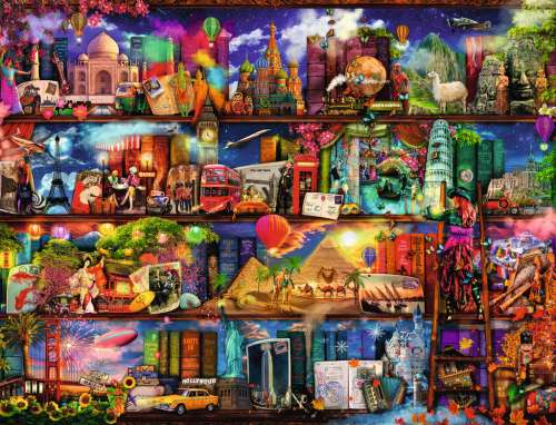 World of Books (RB16685-5), a 2000 piece jigsaw puzzle by Ravensburger. Click to view larger image.