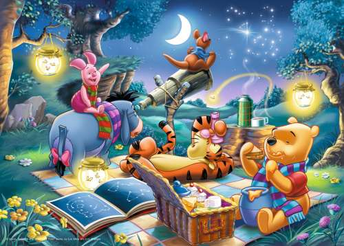 Winnie the Pooh Star Gazing (RB15875-1), a 1000 piece jigsaw puzzle by Ravensburger. Click to view larger image.
