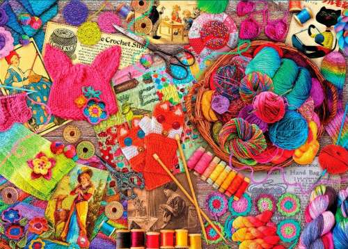 Yarns (Treats & Treasures) (HOL097197), a 1000 piece jigsaw puzzle by Holdson. Click to view larger image.