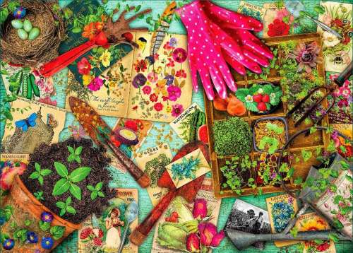 Garden (Treats & Treasures) (HOL097173), a 1000 piece jigsaw puzzle by Holdson. Click to view larger image.