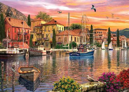 Harbour (Sunsets) (HOL097258), a 1000 piece jigsaw puzzle by Holdson. Click to view larger image.