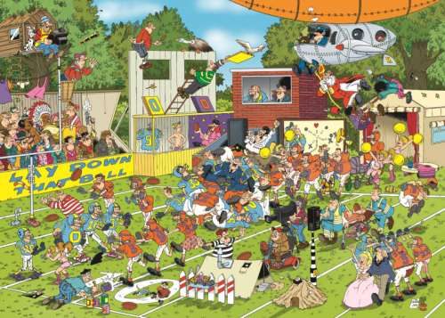 Chaos on the Field (JUM19020), a 150 piece jigsaw puzzle by Jumbo. Click to view larger image.