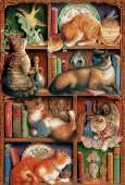 Feline Bookshelf (COB50710), a 2000 piece jigsaw puzzle by Cobble Hill. Click to view this jigsaw puzzle.