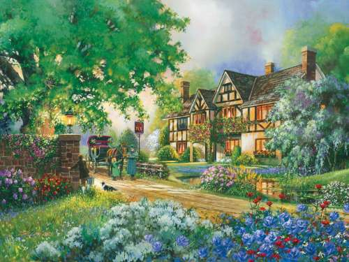 Old Coach Inn (Large Pieces) (COB54332), a 275 piece jigsaw puzzle by Cobble Hill. Click to view larger image.