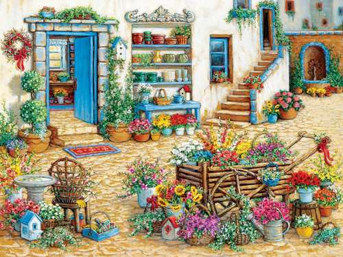 Fancy Flower Shop (Large Pieces) (COB54344), a 275 piece jigsaw puzzle by Cobble Hill. Click to view larger image.