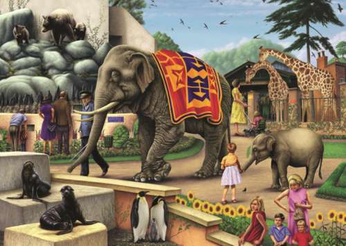 Day at the Zoo (JUM11105), a 1000 piece jigsaw puzzle by Jumbo. Click to view larger image.