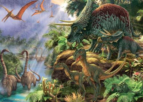 Dinosaur Valley (JUM11103), a 1000 piece jigsaw puzzle by Jumbo. Click to view larger image.