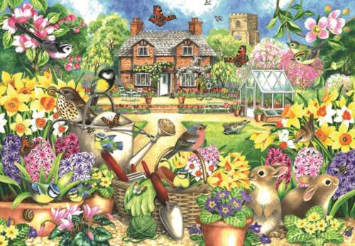 Spring Garden (JUM11106), a 1000 piece jigsaw puzzle by Jumbo. Click to view larger image.