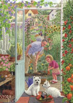 Through the Greenhouse Door (JUM11115), a 500 piece jigsaw puzzle by Jumbo. Click to view larger image.