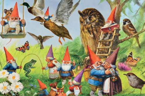 In the Forest with the Gnomes (JUM18322), a 1000 piece jigsaw puzzle by Jumbo. Click to view larger image.