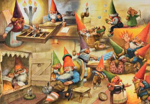 At Home with the Gnomes (JUM18323), a 1000 piece jigsaw puzzle by Jumbo. Click to view larger image.