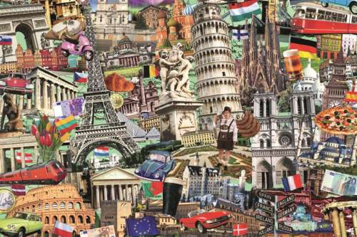 European Cities (JUM18355), a 1500 piece jigsaw puzzle by Jumbo. Click to view larger image.