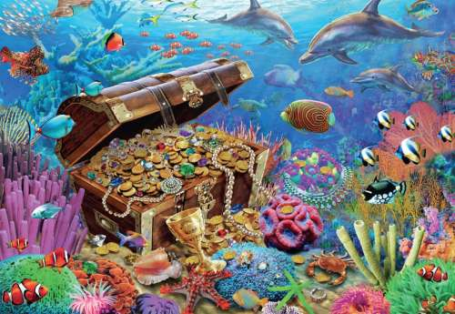 Underwater Treasure (JUM18342), a 1000 piece jigsaw puzzle by Jumbo. Click to view larger image.