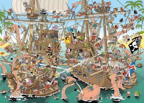 Pirates (JUM19204), a 1000 piece jigsaw puzzle by Jumbo. Click to view larger image.
