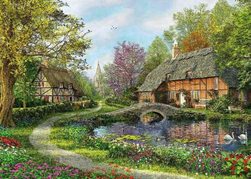 Meadow Cottage (HOL097449), a 1000 piece jigsaw puzzle by Holdson. Click to view larger image.