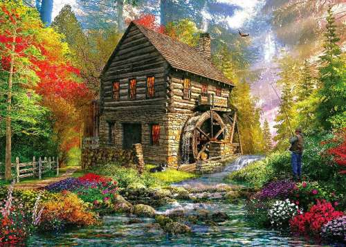 Mill Cottage (HOL097456), a 1000 piece jigsaw puzzle by Holdson. Click to view larger image.