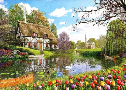 Tulip Cottage (HOL097463), a 1000 piece jigsaw puzzle by Holdson. Click to view larger image.
