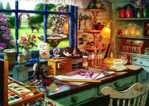 Grandma's Craft Shed (Large Pieces) (HOL097296), a 500 piece jigsaw puzzle by Holdson. Click to view larger image.