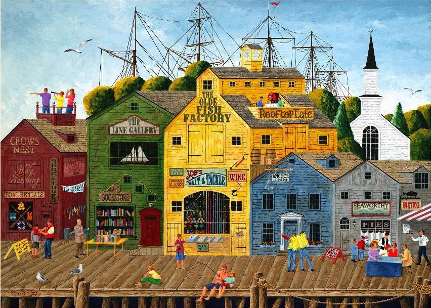 crows nest harbour jigsaw by art poulin  097395  1000 pieces