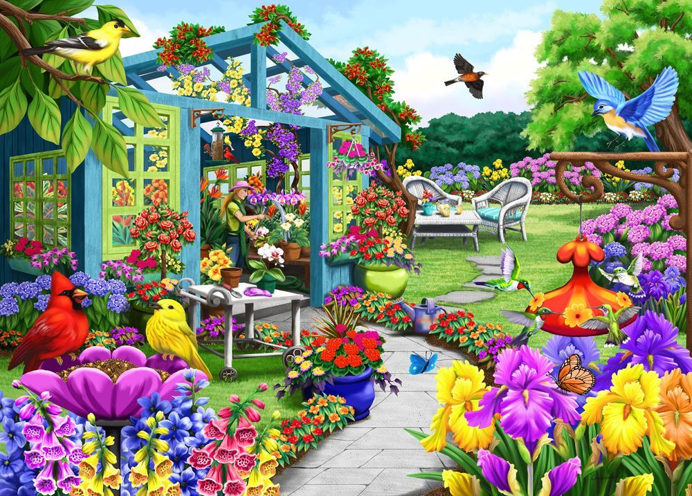 Greenhouse Path Birdsong Jigsaw By Nancy Wernersbach