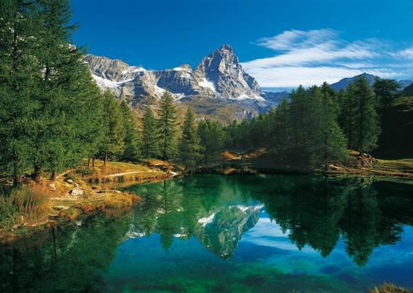 Blue Lake Cervino Italy Matterhorn Jigsaw By