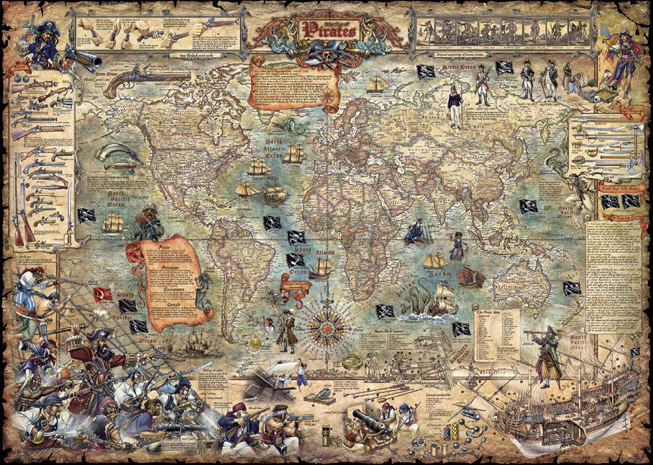 Maps puzzles at jigsaws delivered australias largest range of pirate world map hey29526 a 3000 piece heye jigsaw puzzle gumiabroncs Gallery