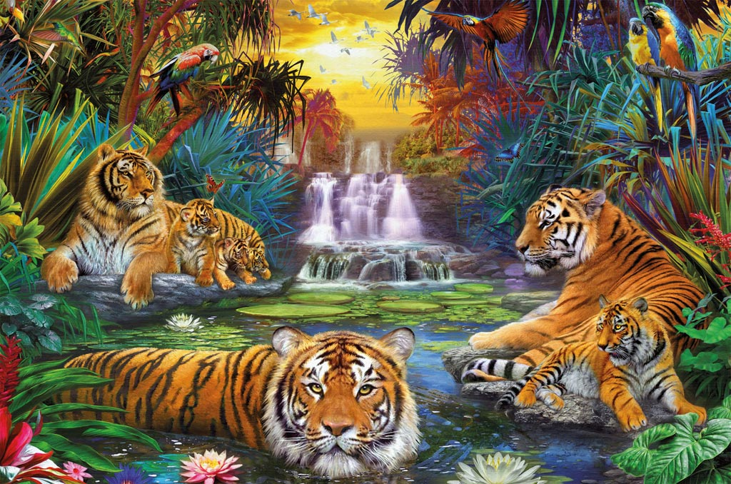 Tigers At The Waterhole Jigsaw By Ravensburger Rb17057 9