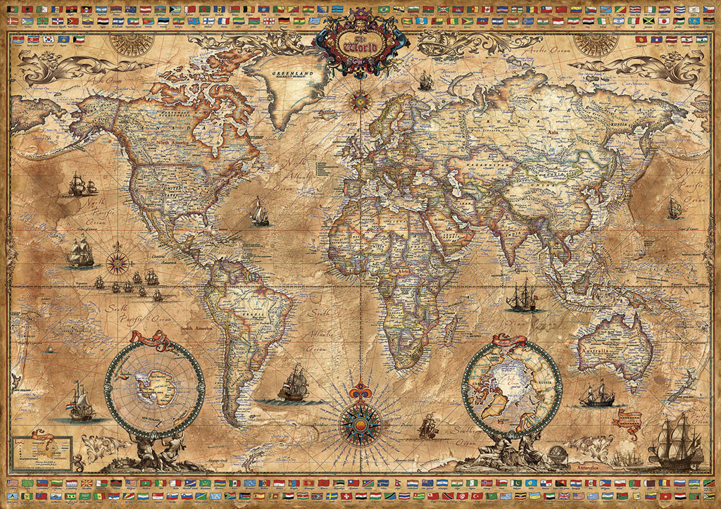 Maps puzzles at jigsaws delivered australias largest range of antique world map edu15159 a 1000 piece educa jigsaw puzzle gumiabroncs Images