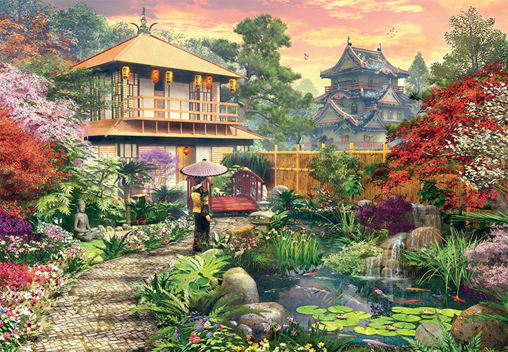 Japanese garden jigsaw by dominic davison jum18334 1000 for Jardin oriental