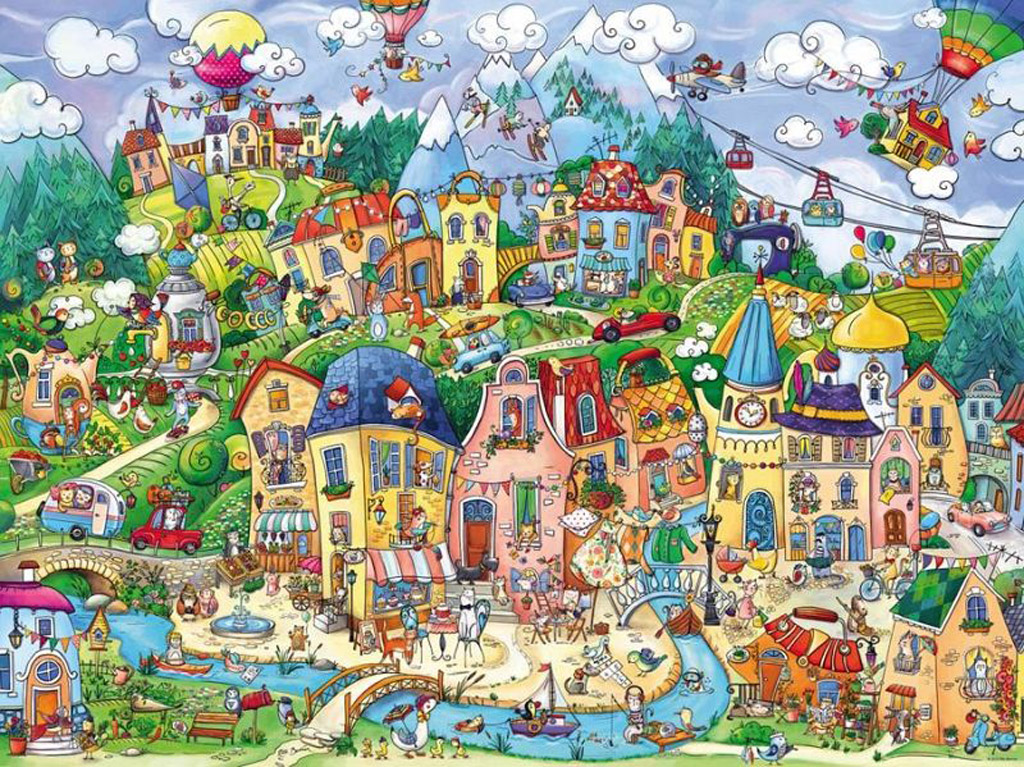 Happytown Jigsaw By Rita Berman Hey29744 1500 Pcs